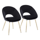 Metro Contemporary Chair in Gold Metal and Black Velvet  - Set of 2