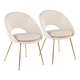 Metro Contemporary Chair in Gold Metal and Cream Velvet  - Set of 2