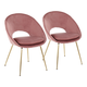 Metro Contemporary Chair in Gold Metal and Blush Velvet  - Set of 2