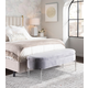 Chloe Contemporary/Glam Storage Bench in Chrome Metal and Gray Velvet