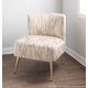 Fran Contemporary Slipper Chair in Gold Metal and Light Brown Fabric