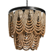 Creative Co-Op Metal Chandelier with Draped Wood Beads