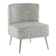 Fran Contemporary Slipper Chair in Chrome and Blue Leopard Fabric