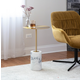 Symbol Contemporary Side Table in Gold Metal and White Marble