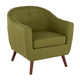 Rockwell Mid-Century Modern Accent Chair in Brown Wood and Green Fabric