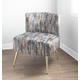 Fran Contemporary Slipper Chair in Gold Metal and Gray Fabric