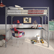 Atwater Living Mason Metal Twin Loft Bed with Desk, Silver