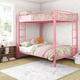 Atwater Living Parker Full over Full Metal Bunk Bed, Pink