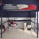 Atwater Living Mason Metal Full Loft Bed with Desk, Blue