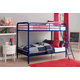 Atwater Living Eeva Twin over Twin Metal Bunk Bed, Blue