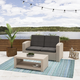CorLiving 2-Piece Outdoor All-Weather Loveseat Patio Set with Cushions