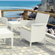 Siesta Outdoor California Wickerlook Chair White with Natural Cushion (Set of 2)