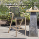 Brielle Outdoor Light Eucalyptus Wood and Charcoal Rope Counter and Bar Height Stool