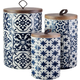 AMERICAN ATELIER Blue Medallions Canister with Wooden Lid (Set of 3)