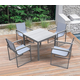 Bistro Outdoor Dining Chair in Powder Coated Finish with Gray Wood Accent Arms  (Set of 2)
