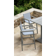 Marina Outdoor Barstool in Gray Powder Coated Finish with Gray Wood Accent Arms