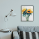 Sunflower Assortment with Watercolor 24x30 Black Frame Wall Art