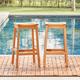Vifah 2-Piece Outdoor Eucalyptus Wooden Outdoor Dining Stool Set