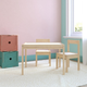 Baby Relax Percy 3-PC Kiddy Table and Chair Set, Natural/White