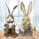 15-In. Mr. and Mrs. Sisal Bunny Pair Figurine