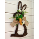 18-inch Twig Bunny Wreath Door Hanging with Tulips and Carrot