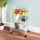 Home Basics Multi-Purpose Rolling Metal Kitchen Trolley, White