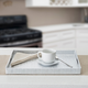 Home Basics Metallic Weave Serving Tray with Cut-Out Handles, Silver