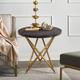 Atala Brown Veneer End Table with Brushed Gold Legs