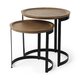Mercana Aisley Light Brown Wood with Black Metal Base Round Nesting Side Tables (Set of 2)