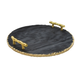 American Atelier Marble Black/Gold Tray With Handles