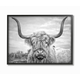 Black and White Highland Cow 24x30 Black Frame Wall Art