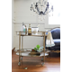 Creative Co-Op 2-Tier Metal Bar Cart with Locking Caster Wheels