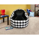ACEssentials Faux Fur Bean Bag Chair with Tablet Pocket in Buffalo Print, Black/White
