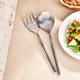 Elle 2-Piece Tube Silver Salad Serving Set