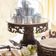 The Gerson Company Glass Domed Cake Pedestal with Acanthus Leaf Ornate Brown Metal Base and Cream Ceramic Plate