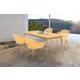 Nassau 5-Piece Outdoor Natural Wood Finish Table and Honey Yellow Arm Chairs Dining Set