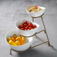 Gibson Elite 3 Tiered Oval Chip And Dip Set with Metal Rack, Three Tier Dessert And Snack Server (Gold)