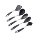 Circulon Tools Nylon 5-Piece Set: Slotted Turner, Solid Spoon, Slotted Spoon, Ladle, Small Cleaning Brush, Black