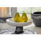 The Gerson Company White Marble Bowl On Gray-Washed Metal-Inlay Pedestal