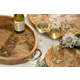 The Gerson Company Mango Wood with Laser Butterfly Design Round Trivet
