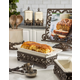 The Gerson Company Cream Stoneware Loaf Dish In Metal Acanthus Leaf Base