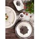 The Gerson Company Cream Ceramic Crudite Set with Acanthus Leaf Ornate Brown Metal Holder