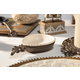 The Gerson Company Cream Stoneware Large Spoon/Ladle Holder with Metal Acanthus Leaf Base