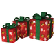 Holiday Electric Red Outdoor Gift Boxes with Green Bow (Set of 3)
