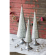 Holiday Set of Three Zinc Topiaries with Beaded Brass Detail