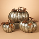 Fall Sized Hammered Metal Pumpkins (Set of 3)