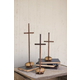 Holiday Set of 3 Scrap Metal Crosses with Caged Rock Bases