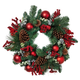 Holiday Pine Wreath with Ornaments, and Berry and Leaf Accents