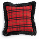 Holiday Plaid & Faux Fur Square Pillow
