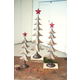 Holiday Set of Three Metal Trees With Red Star